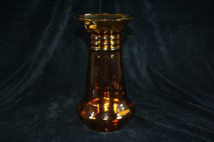 I03002 – Amber glass, optical blown Art Deco vase by...