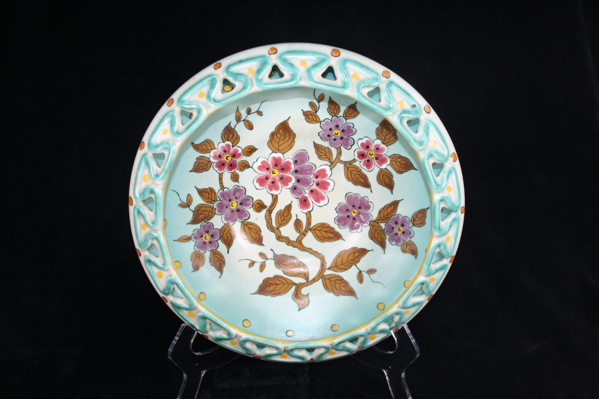 Verwonderend E06002 - Dutch art pottery (plateel) vintage large dish or float TV-15
