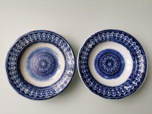 I92002 – Pair of Petrus Regout Maastricht décor Bali blue...